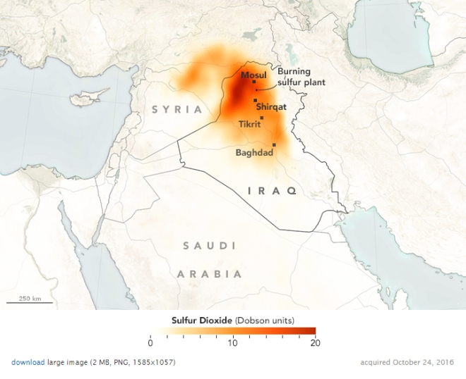 [1]10月24日観測の二酸化硫黄観測結果を地図に重ねたもの。Credit:NASA